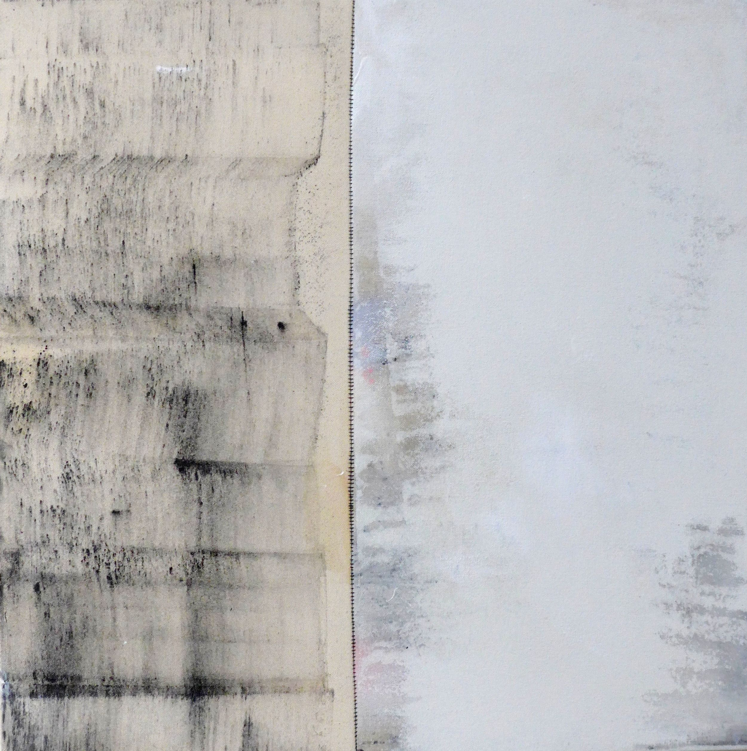 """Artist: A. Nigh Herndon  Title: Untitled  Dimensions: 20"""" x 20"""" x 1.5""""  Medium: graphite x enamel x industrial paint on unprimed canvas, two panels sewn  2016"""