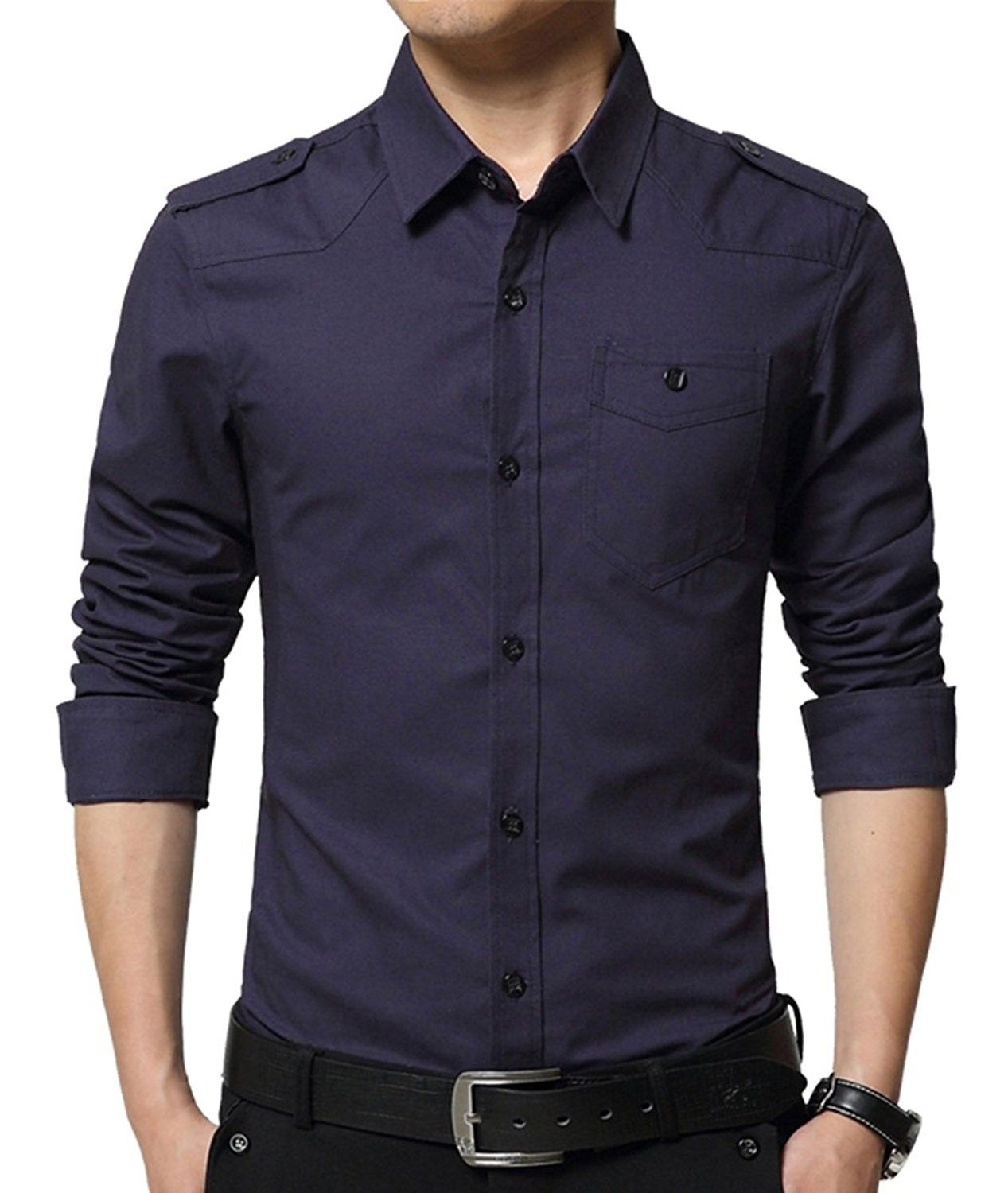 YYear Mens Casual Long Sleeve Button Down Slim Fit Shirt