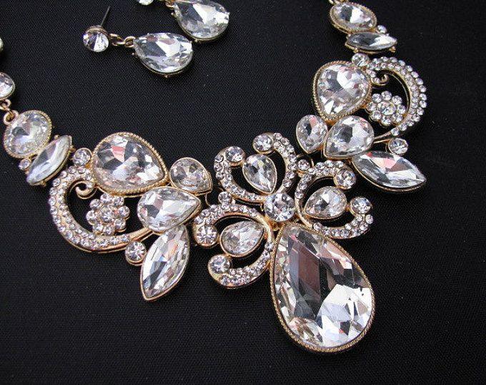 Gold tone Bridal Statement Necklace Set, Wedding Jewelry Set ...