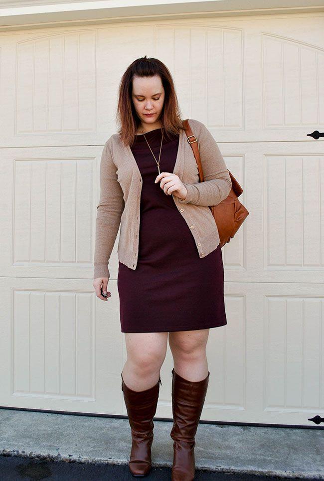 Burgundy Dress, Tan Cardigan, Brown Boots, Brown Bookbag | http ...