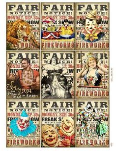 Creepy Carnival Halloween Images Vintage Circus Posters Fun Fair Parties Cirque Digital Collage