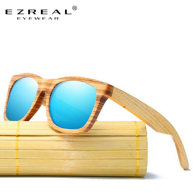 EZREAL Zebra Óculos De Sol De Madeira de Bambu Óculos De Sol de Marca  Original Designer 279dc7a421