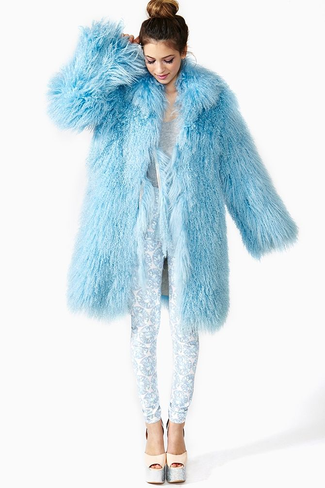 Baby Blue Faux Fur Coat | copycatlist | Pinterest | Back dresses ...