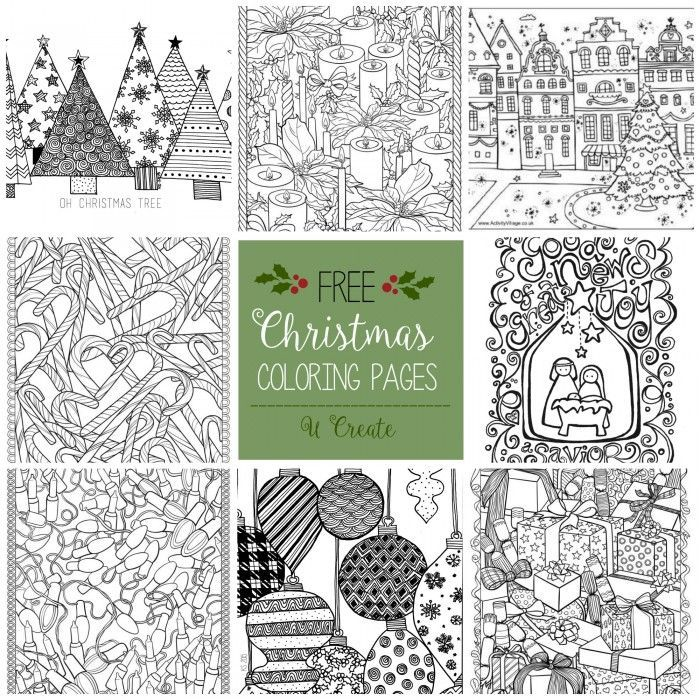 Free Christmas Adult Coloring Page Sheets - Worksheet & Coloring Pages