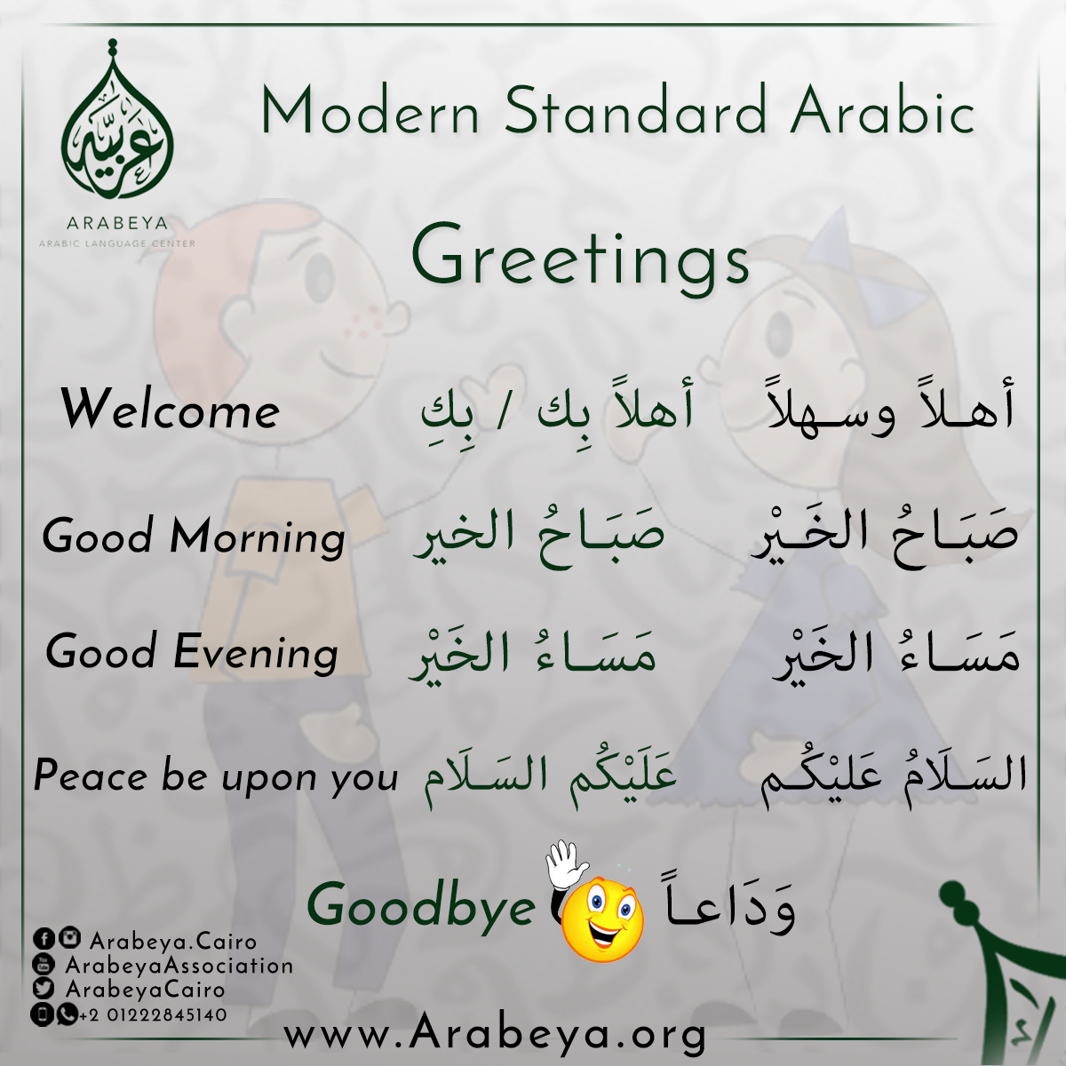 Greetings In Arabic Language Arabic For Children Pinterest