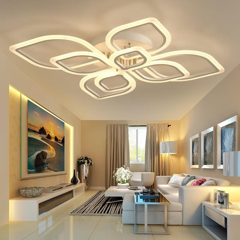 Modern Led Chandeliers For Living Room Bedroom Dining Room Acrylic Indoor Home Ceiling Chan Bedroom Ceiling Light Ceiling Design Living Room Led Ceiling Lights