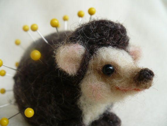 Needle felted Hedgehog Pincushion OOAK by grannancan by grannancan, $25.00