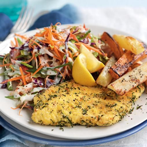 Herb Crumbed Chicken With Baked Potato Chips Australian Healthy
