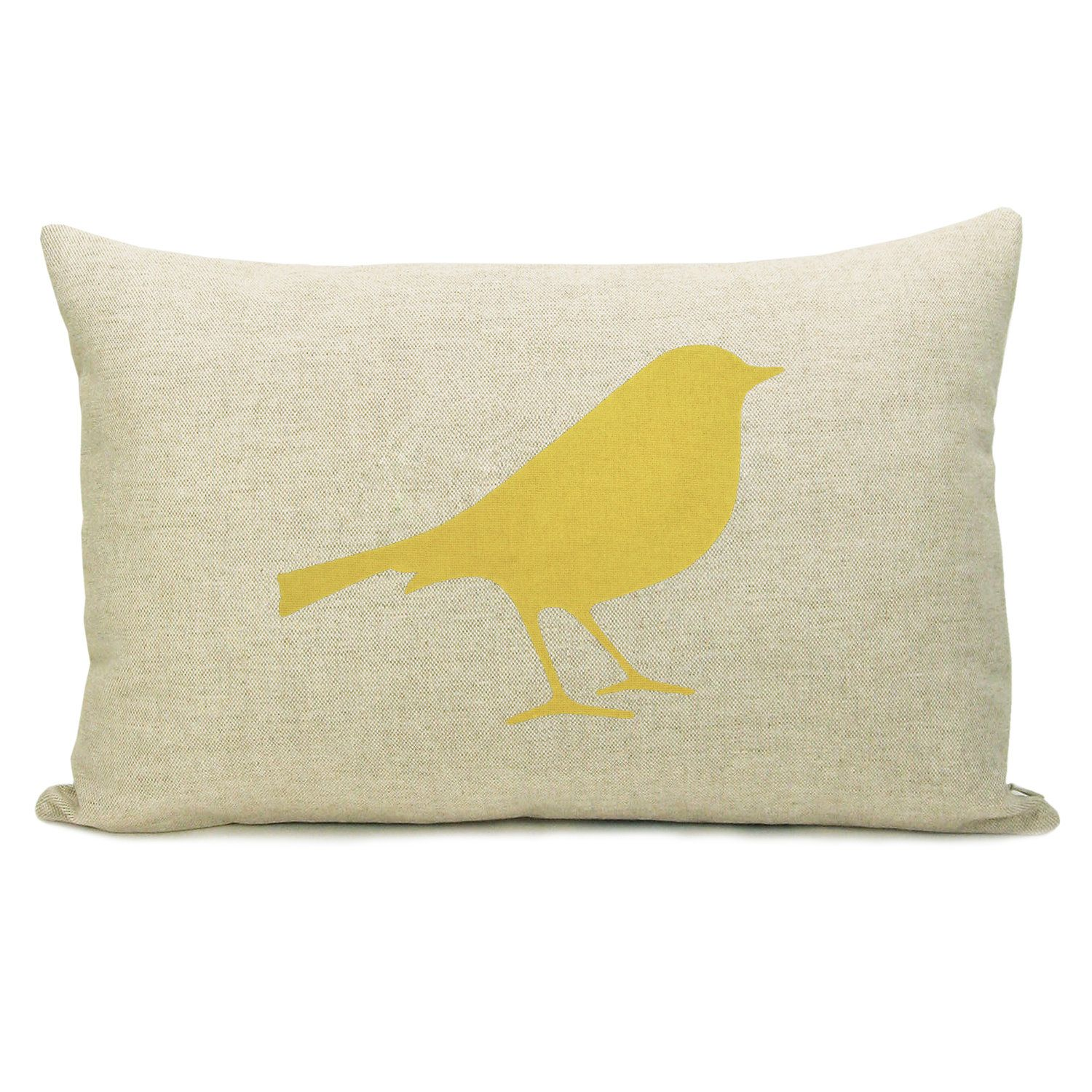 Lumbar 12x18 16x16 Or 18x18 Decorative Bird Pillow Case In Mustard Yellow And Natural Beige Linen Modern Woodland Accent Cushion Cover Personalized Pillow Cases Pillows Bird Pillow