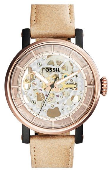 5208bd1e4d4 Fossil  Original Boyfriend  Skeleton Dial Leather Strap Watch