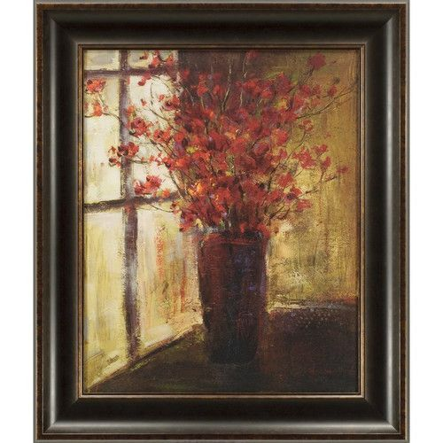 Ashton Wall Décor LLC Vase of Flowers Large Framed Painting Print ...