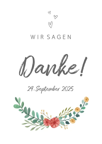 Danksagung Hochzeitsjubilaum Blumenranke In 2020 Hochzeitsjubilaum Danksagung Hochzeit Text Karte Hochzeit