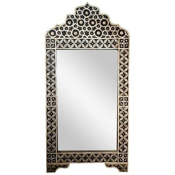 Moroccan Bone Inlay Mirror ($1,895) ❤ liked on Polyvore featuring home, home decor, mirrors, black white home decor, bone inlay mirror, handmade mirror, bone mirror and black and white home decor