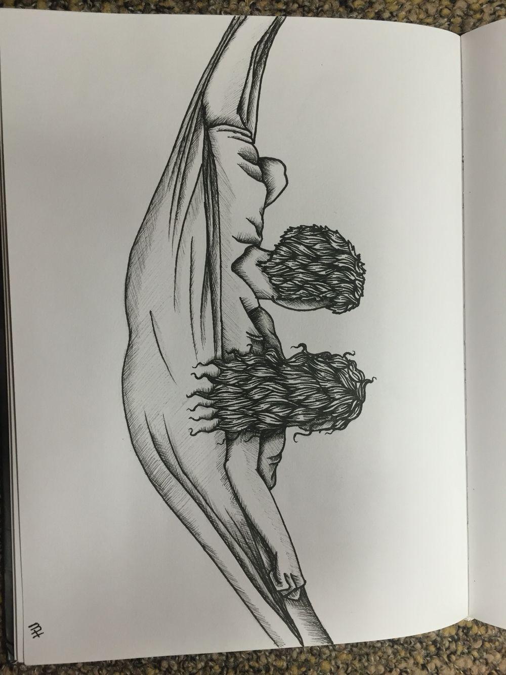 Couple eno hammock drawing in pen