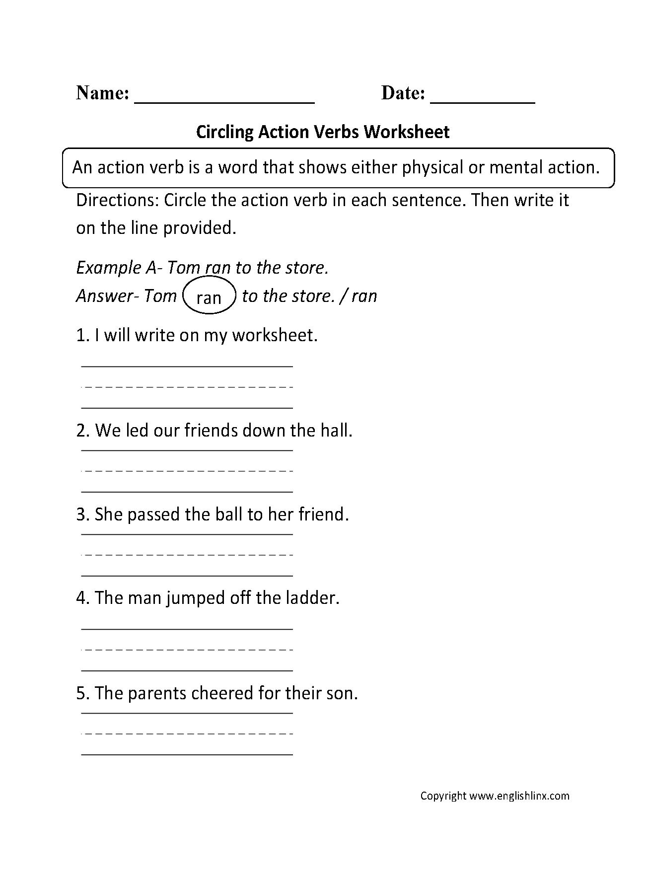 Circling Action Verbs Worksheet Mrs Martinez Verb