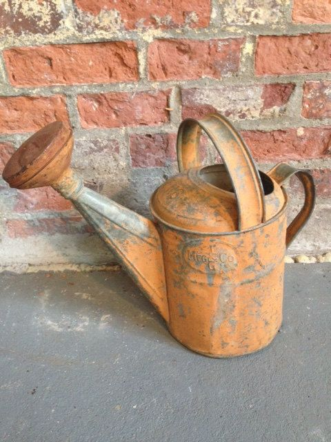 Delightful 1930s Aluminum Watering Can Original Orange Paint Remains Large Spout Marked Lg Mfg Co Incredible Price