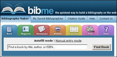 Another Citation Generator Bibme Has Neat Features Like The Ability To Plug In An Author Title Isbn Or The L Find A Book Homework Motivation Citation Maker