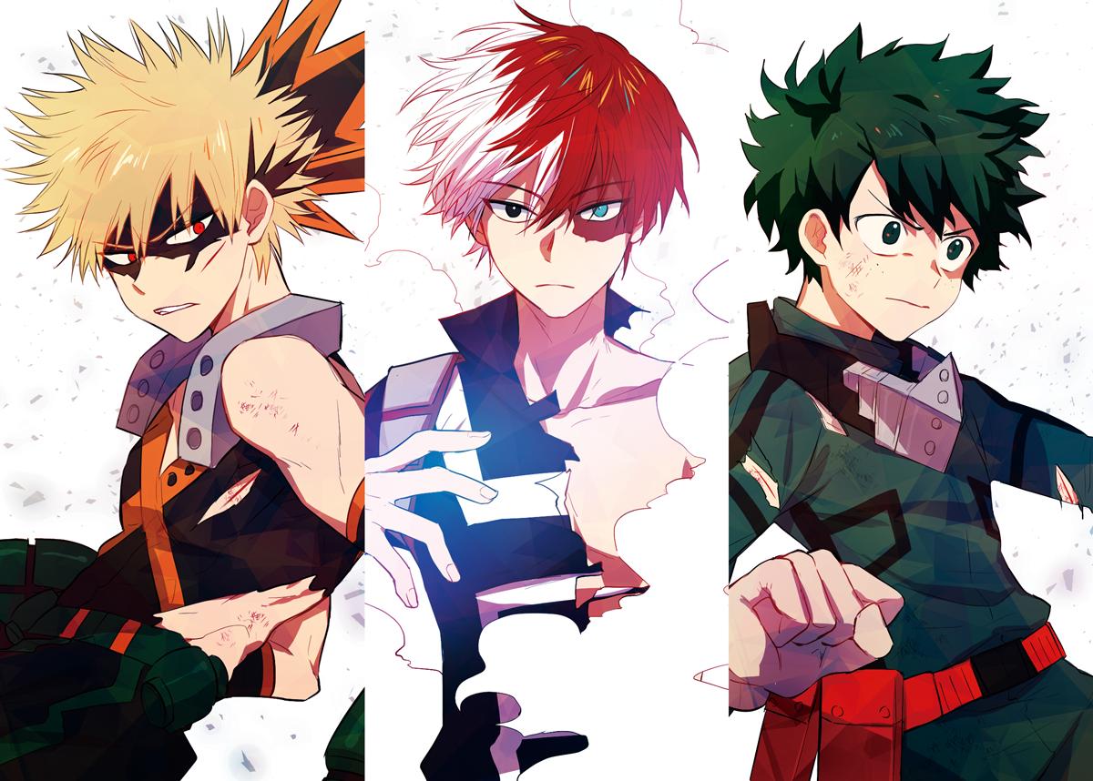 Our Big Three Todoroki Deku Bakugou Hero My Hero Hero Wallpaper