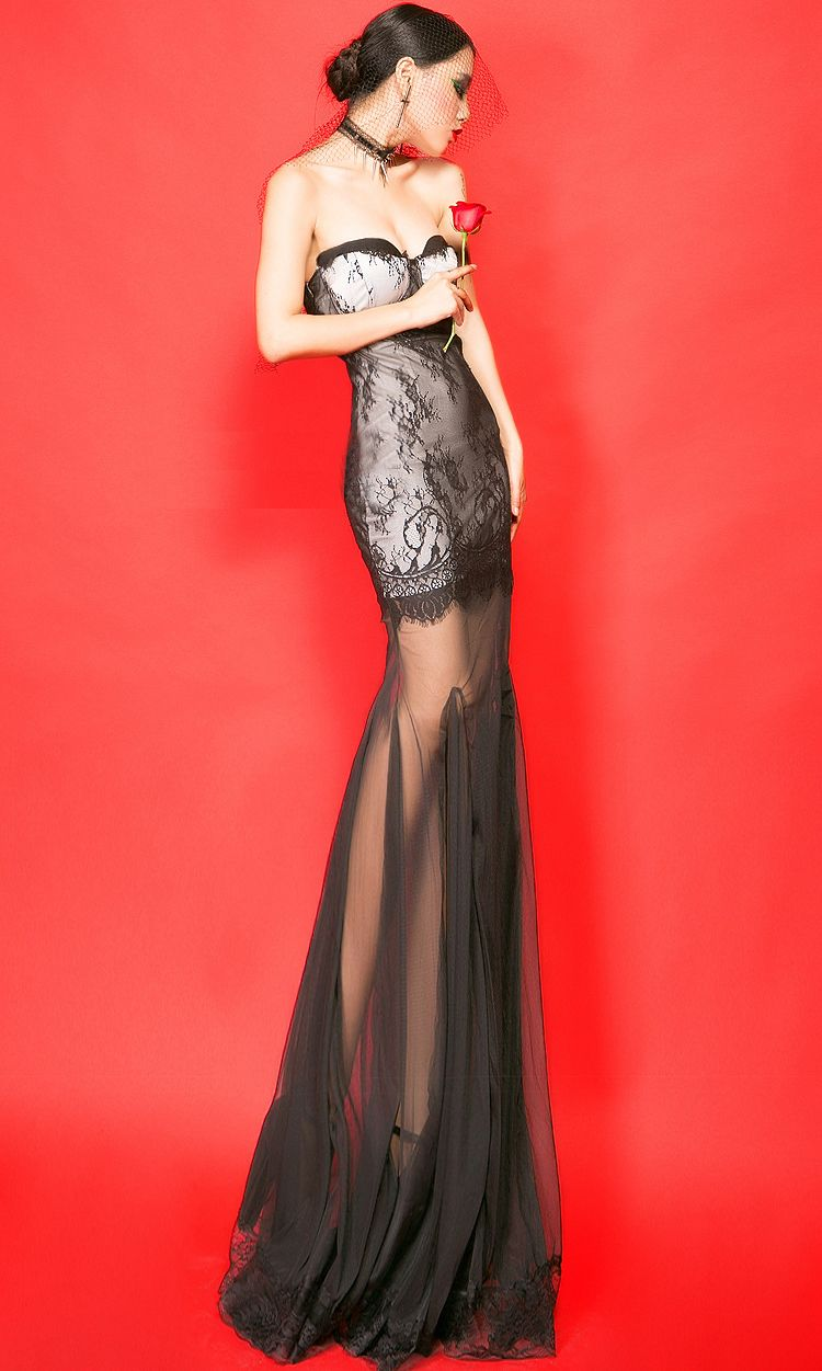 Black lace gauze strapless sexy flora see through pleated long dress