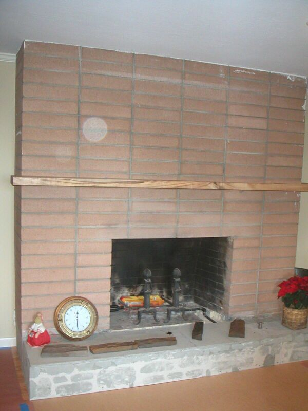 This Is Basically Our Fireplace Now Darker Brick And Small Homemade Mantle Walls Are Tongue Groove Fireplace Remodel Simple Fireplace Brick Fireplace Wall
