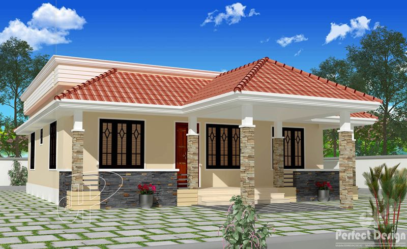 This Beautiful Single Floor House With Roof Deck Can Be Constructed In A Lot Having Country House Design Kerala House Design Beautiful House Plans