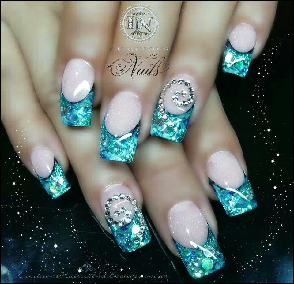 Frozen inspired elsa nail art turquoise nails long nail