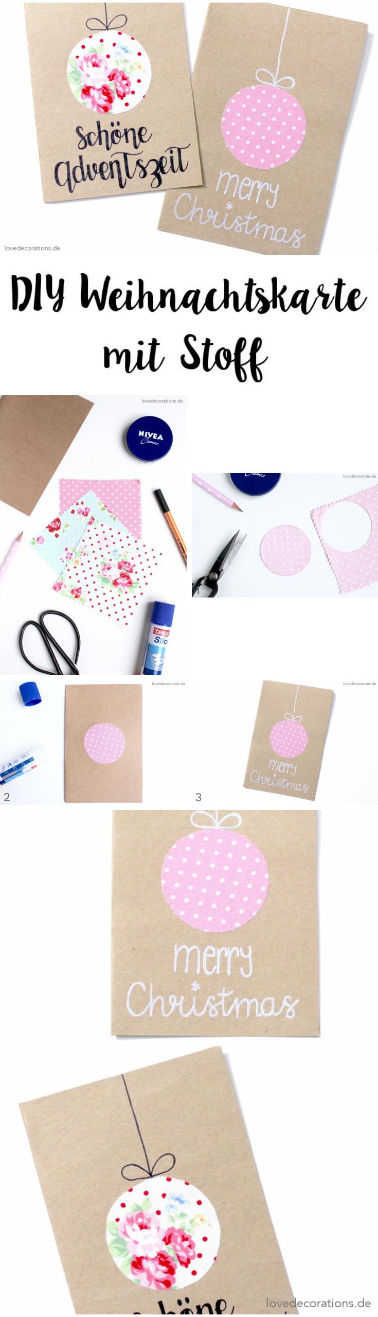 DIY Weihnachtskarten mit Stoff + Duni´s Studio | Step by Step ...