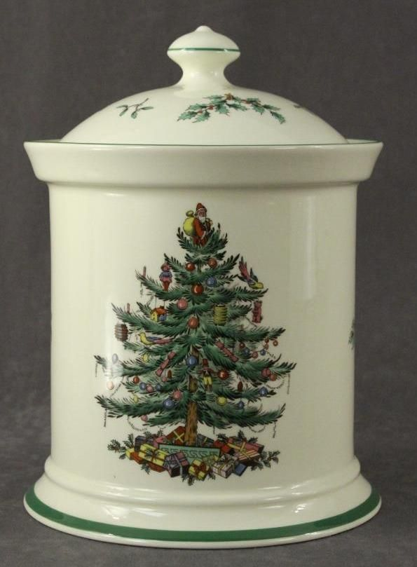 Vintage China SPODE Christmas Tree England Covered Kitchen Canister