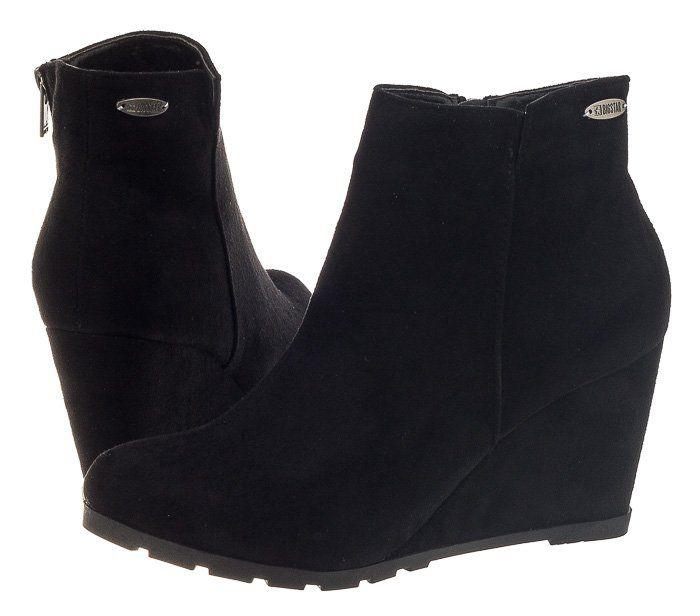 Buty Damskie Botki Koturny Big Star V274025 Czarne 6447773570 Oficjalne Archiwum Allegro Boots Shoes Wedge Boot