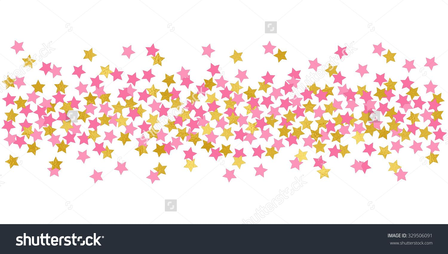 Large Stars Pink And Gold Confetti Border Illustration Bright