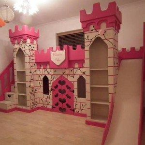 Adorable The Princess Castle Bunk Bed With Slide And Bookshelves And
