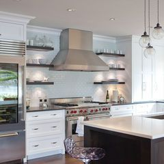 36 Inch Stove And Hood Tile Wile Contemporary Kitchen By Jenny Baines Jennifer Baines Interiors Floating Shelves Kitchen Contemporary Kitchen Kitchen Design