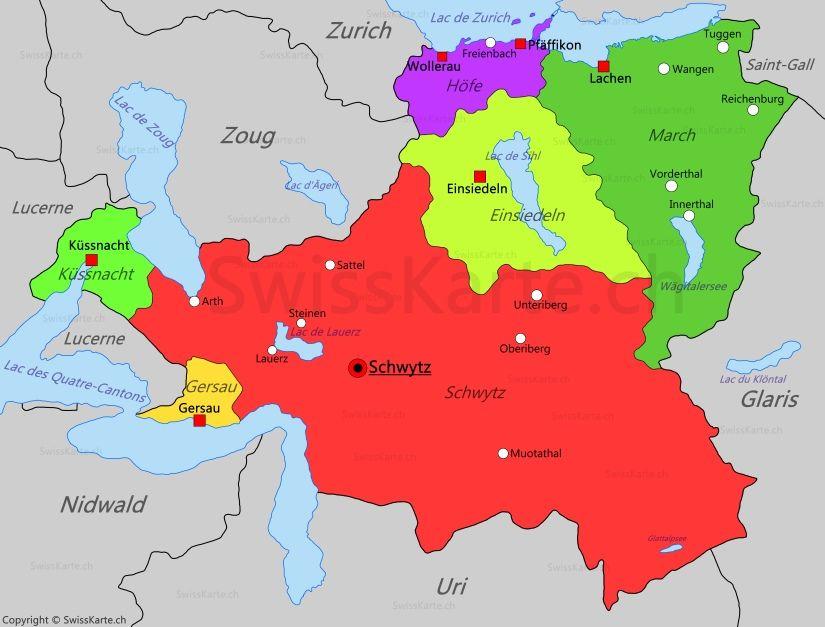 Carte Allemagne Suisse.Carte Du Canton De Schwytz Map Karte Carte Mappa En 2019