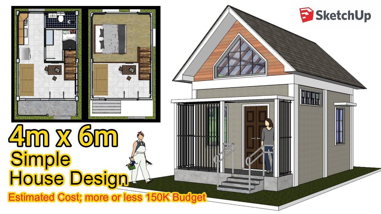 Tiny House 4m X 6m Loft Design Idea Sketchup Animation Wooden House Design Tiny House Design Small House Design