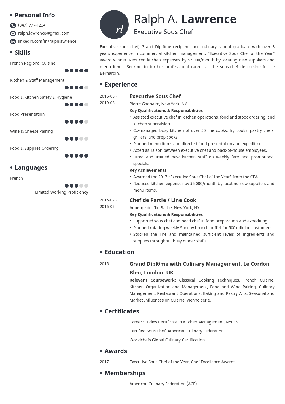Sous Chef Resume Example Template Initials Chef Resume Resume Examples Job Resume Examples