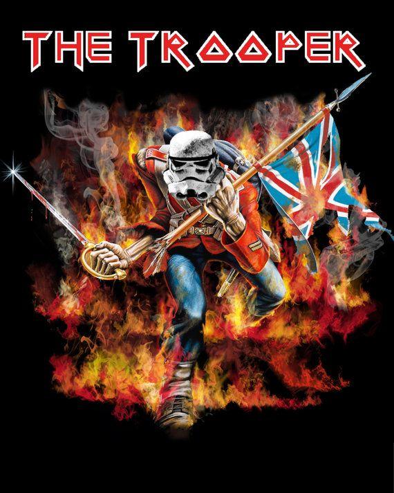 Star Wars Parody Art Poster The Trooper Eddie Iron Maiden 8x10 Giclee Art Print On Etsy 9 98 Art Parody Iron Maiden Eddie Star Wars Parody