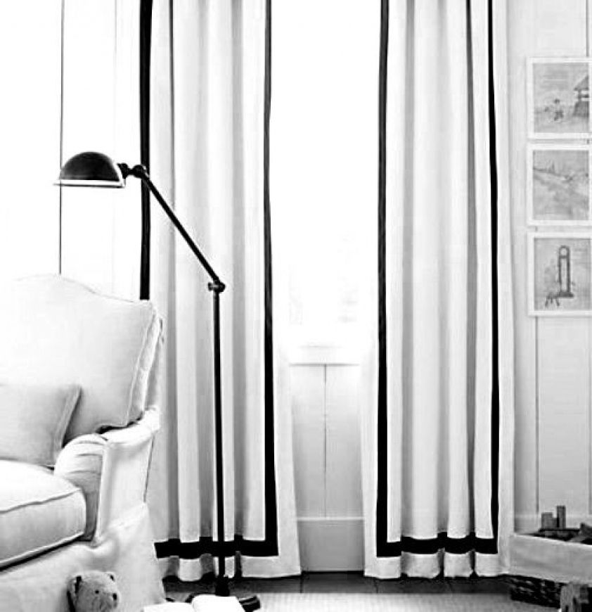 Linen Drapes With Grosgrain Ribbon Trim Pair Linen