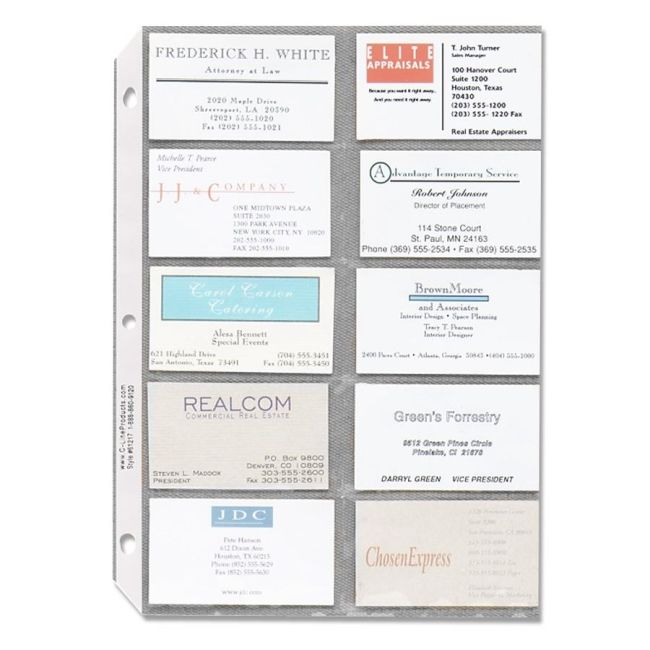 Business Card Sleeves Feature Heavyweight Side Loaded Polypropylene Pages That Fit Into Standard Three Ring Binders