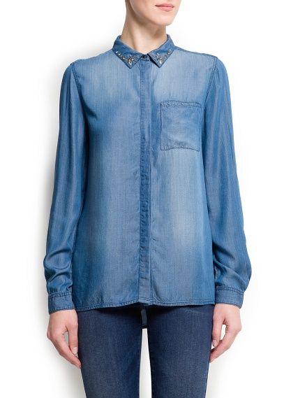 MANGO - Crystal embellished denim shirt