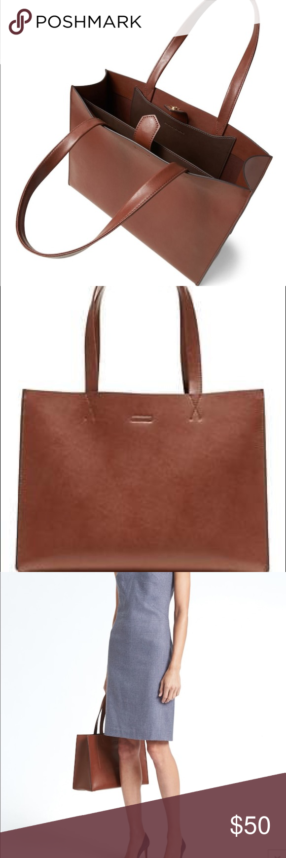 b1695180d784 Banana republic portfolio structured leather tote Brand new with tags. Stow  your laptop