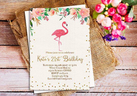Flamingo 21st Birthday Party Invitation Sweet 16