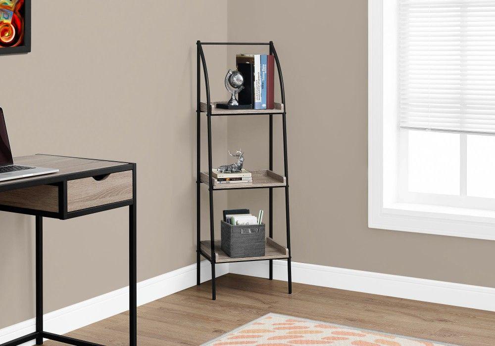 Bookcase - 48H / Dark Taupe / Black Metal - Monarch Specialties I-7228 #knickknack