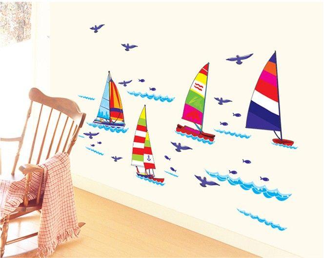 Poze Atocolant pentru copii - Barcute colorate