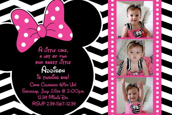 Minnie Mouse Chevron Background Birthday Party Custom Invitation OR Thank You Card Three Picture Option 1000 Via Etsy