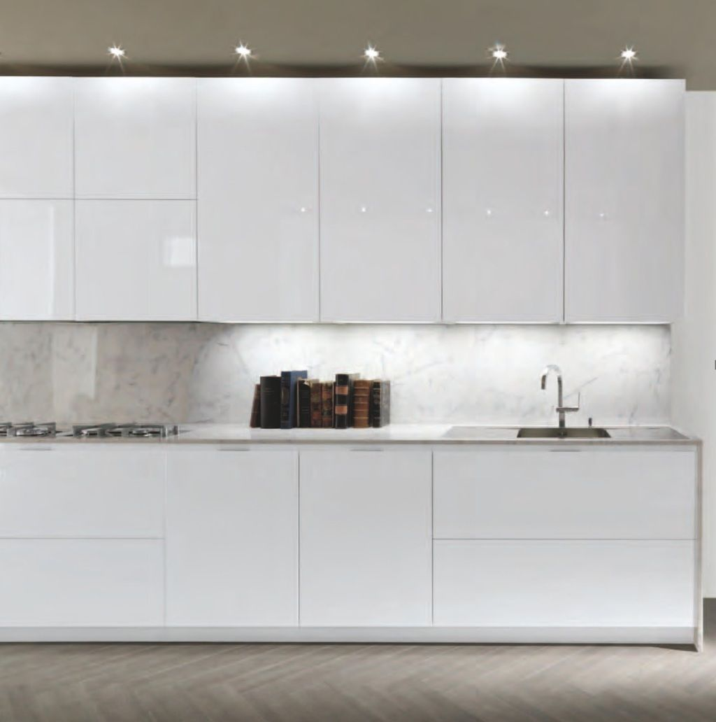 Modern White Kitchen Cabinet Doors: Frameless White High Gloss Doors For A Sleek Modern Look