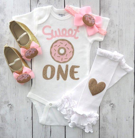 0ab0ebe9b Sweet One Donut First Birthday Onesie -pink gold mint, doughnut 1st birthday,  sweet one birthday outfit, donut headband, donut birthday girl