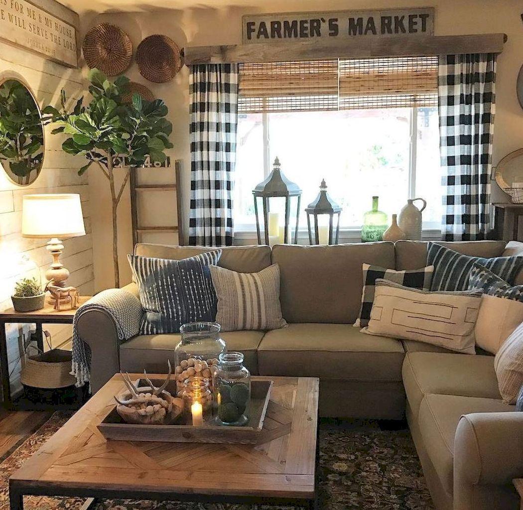 34 Comfy Rustic Farmhouse Living Room Design Ideas