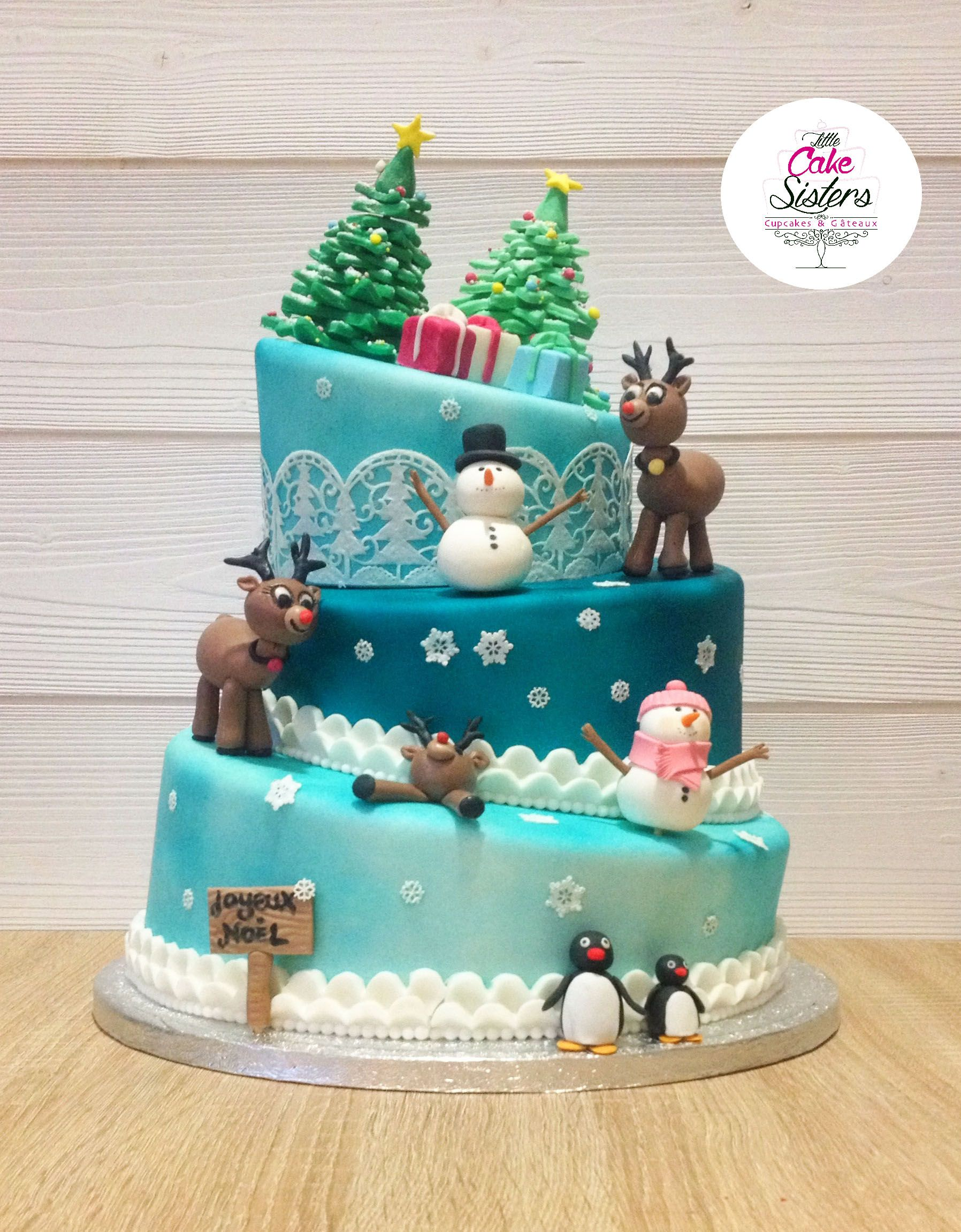 gâteau de noël, christmas cake design, cerf pâte à sucre, sapin pâte à sucre | Dessert noel ...