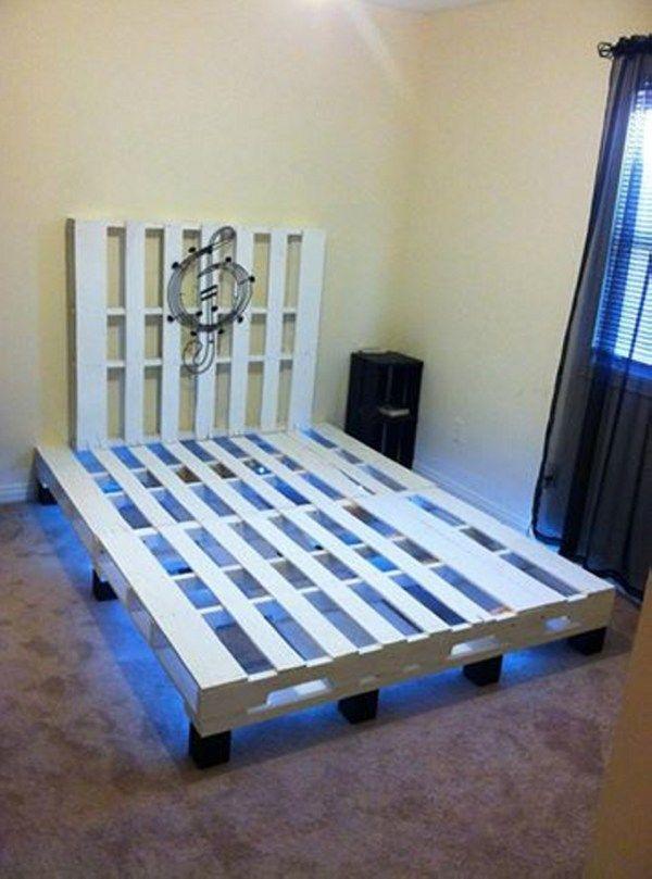 Diy Pallet Bed Led Lights Pallet Bed With Lights Pallet Bed