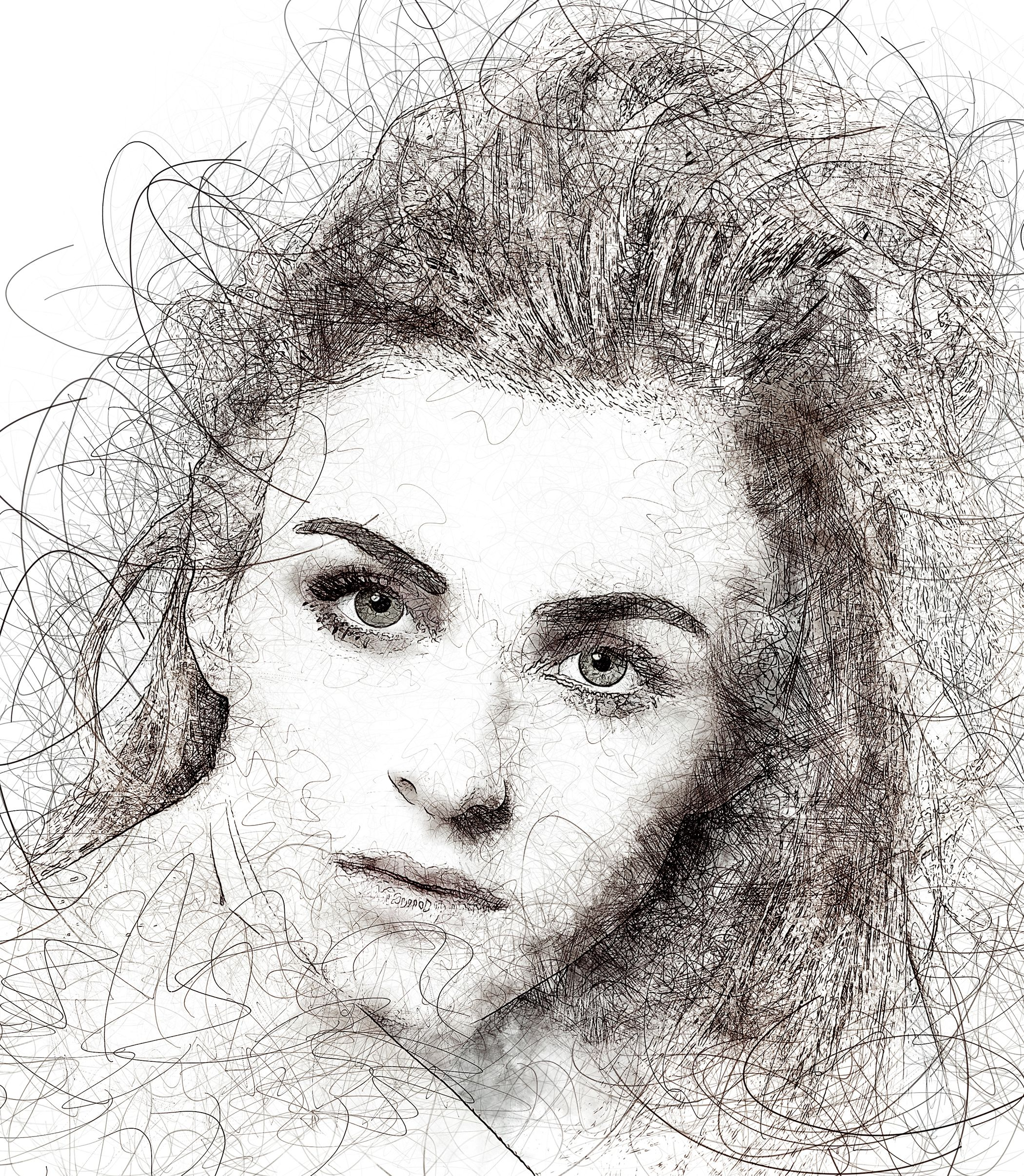 Portrait Scribble Sketch Art Photoshop Action Aff Sketch